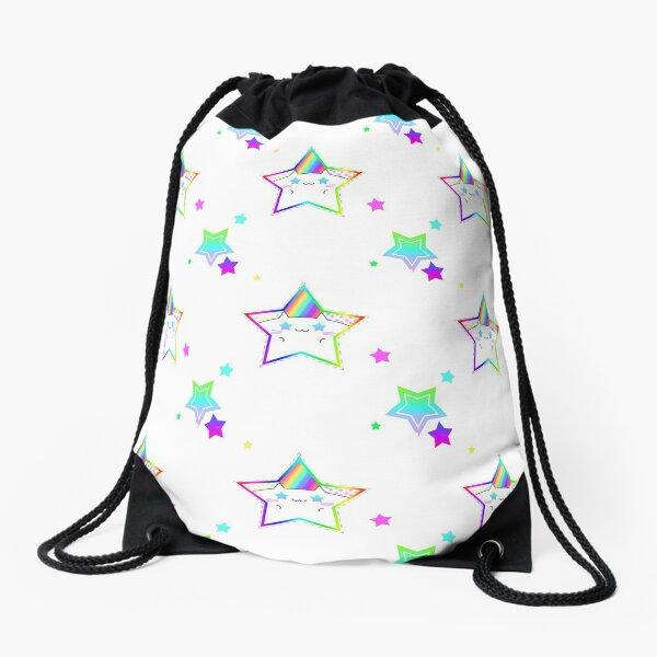 Rainbow Starry Kitty Drawstring Bag