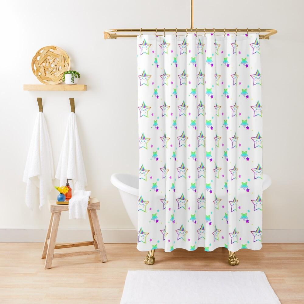 Rainbow Starry Kitty Shower Curtain