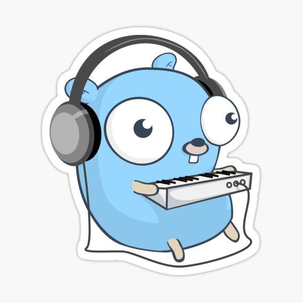 La mascota de golang: la música Pegatina