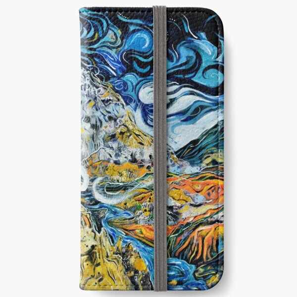 The mountain smokes beneath the moon iPhone Wallet