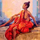 The Orange Sari : female nude oil painting on linen. by Roz McQuillan