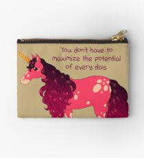 """You Don't Have to Maximize the Potential of Every Day"" Unicorn Zipper Pouch"