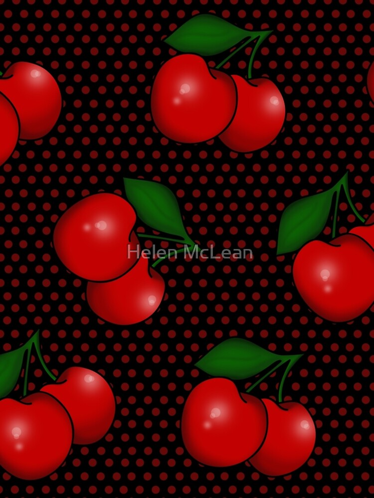 Polka dots and Cherry Pattern in Black by 0hmc