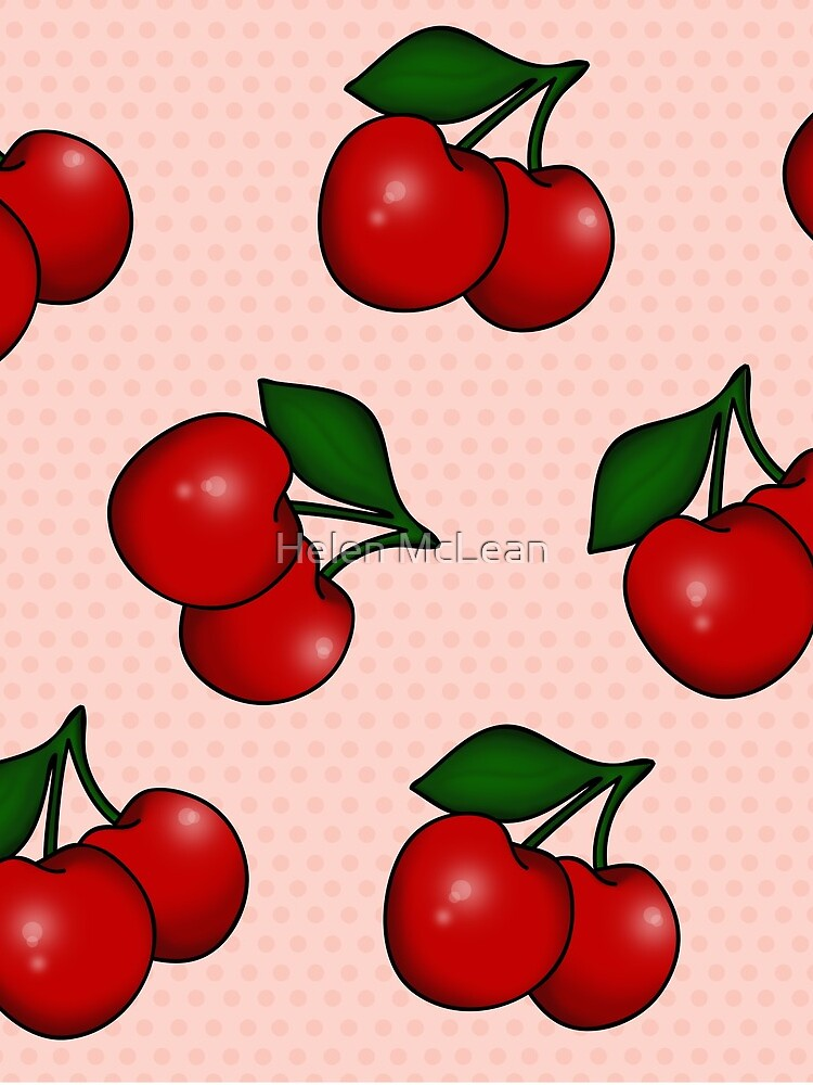 Polka dots and Cherry Pattern in Candy Pink by 0hmc
