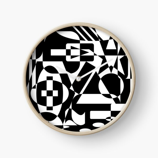 Black and White Mid Century Modern Abstract Design Clock