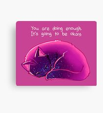 """You Are Doing Enough"" Cat Canvas Print"
