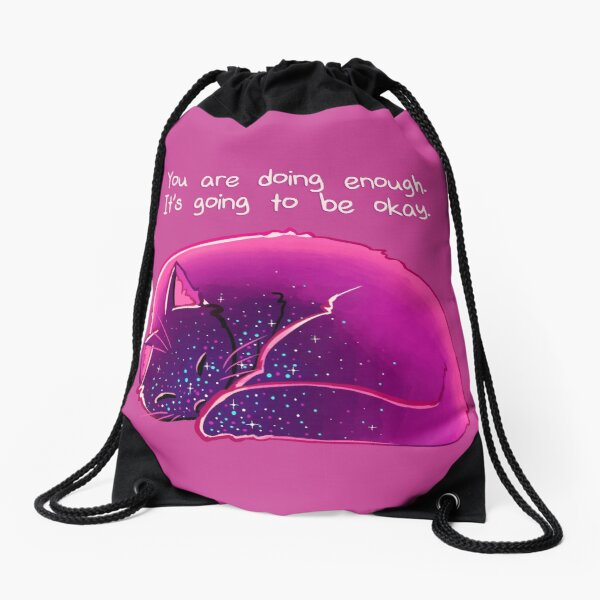 """You Are Doing Enough"" Cat Drawstring Bag"