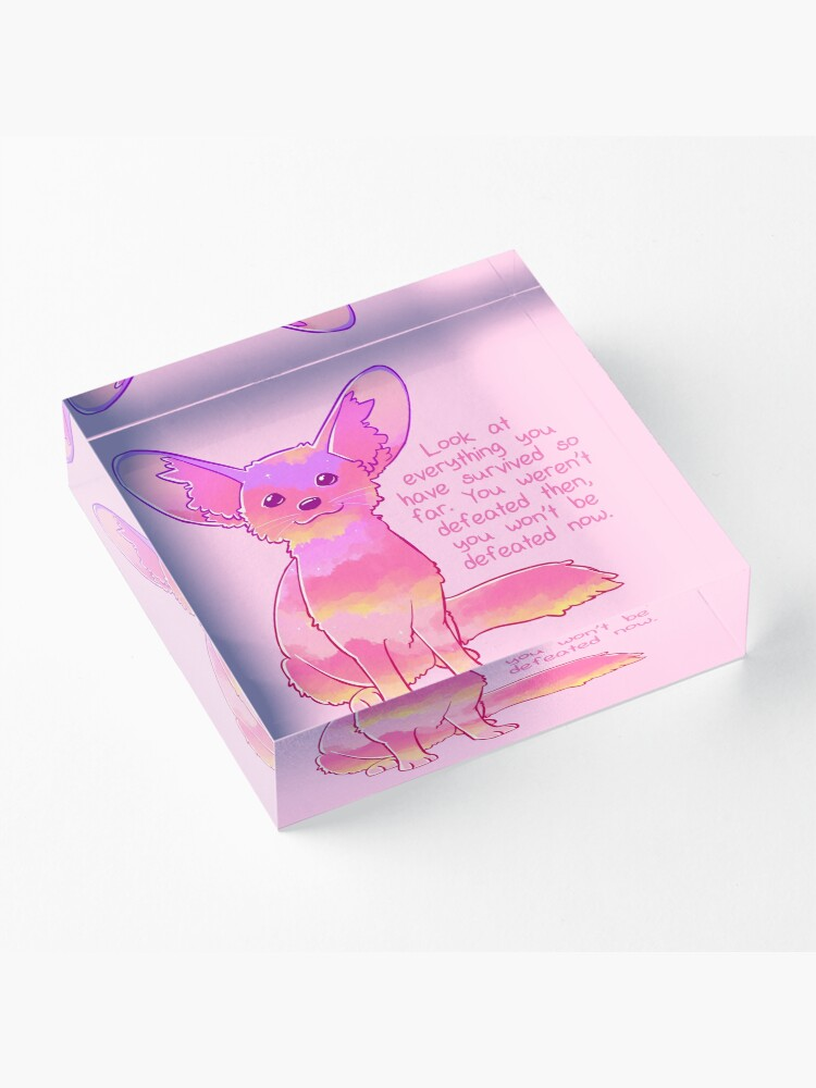 """Alternate view of """"You Won't Be Defeated Now"""" Fennec Fox Acrylic Block"""