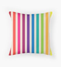 Multi-Colored Rainbow Candy stripes pattern Throw Pillow