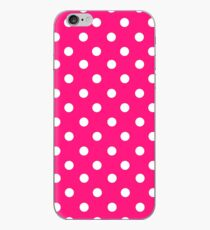 Bright pink polka dot pattern iPhone Case