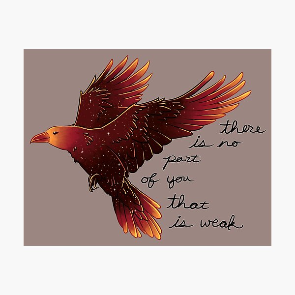 """""""There is No Part of You That is Weak"""" Galaxy Raven Photographic Print"""