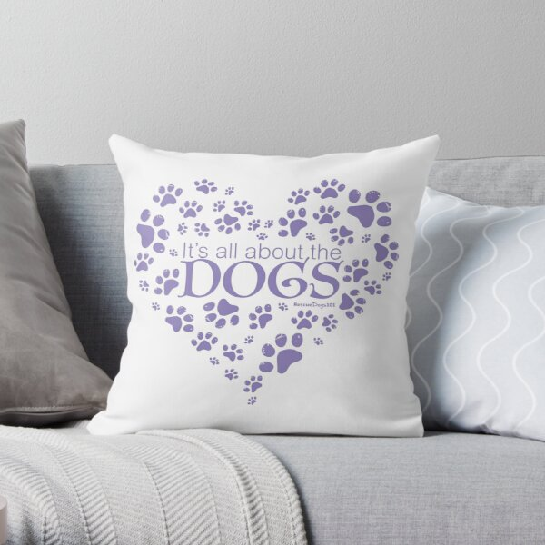 It's All About the Dogs Paw Print Heart Throw Pillow