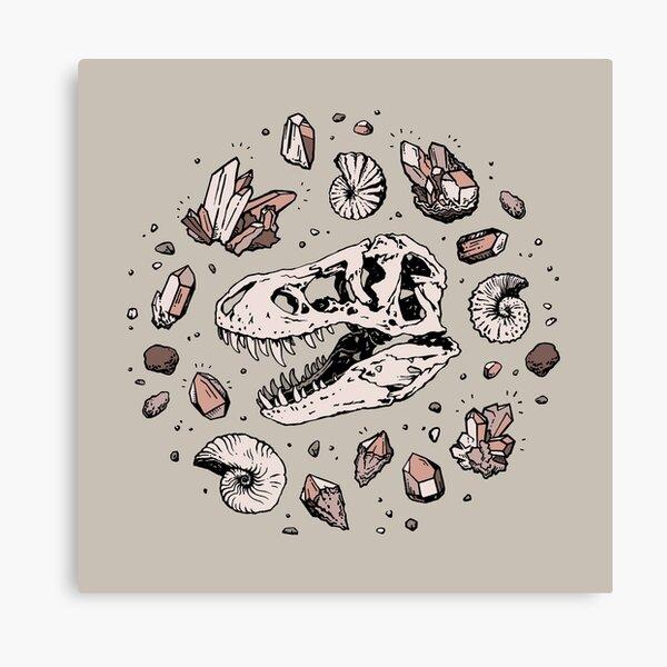 Geo-rex Vortex | Rose Quartz | Dinosaur Skull Fossil Art Canvas Print