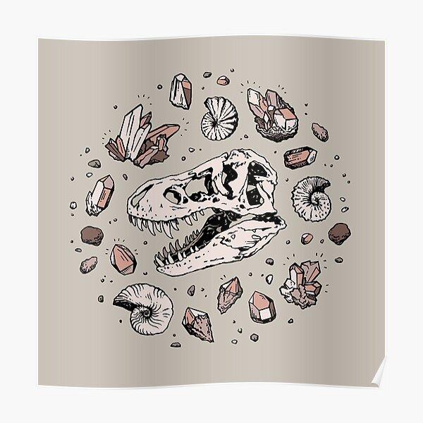 Geo-rex Vortex | Rose Quartz | Dinosaur Skull Fossil Art Poster