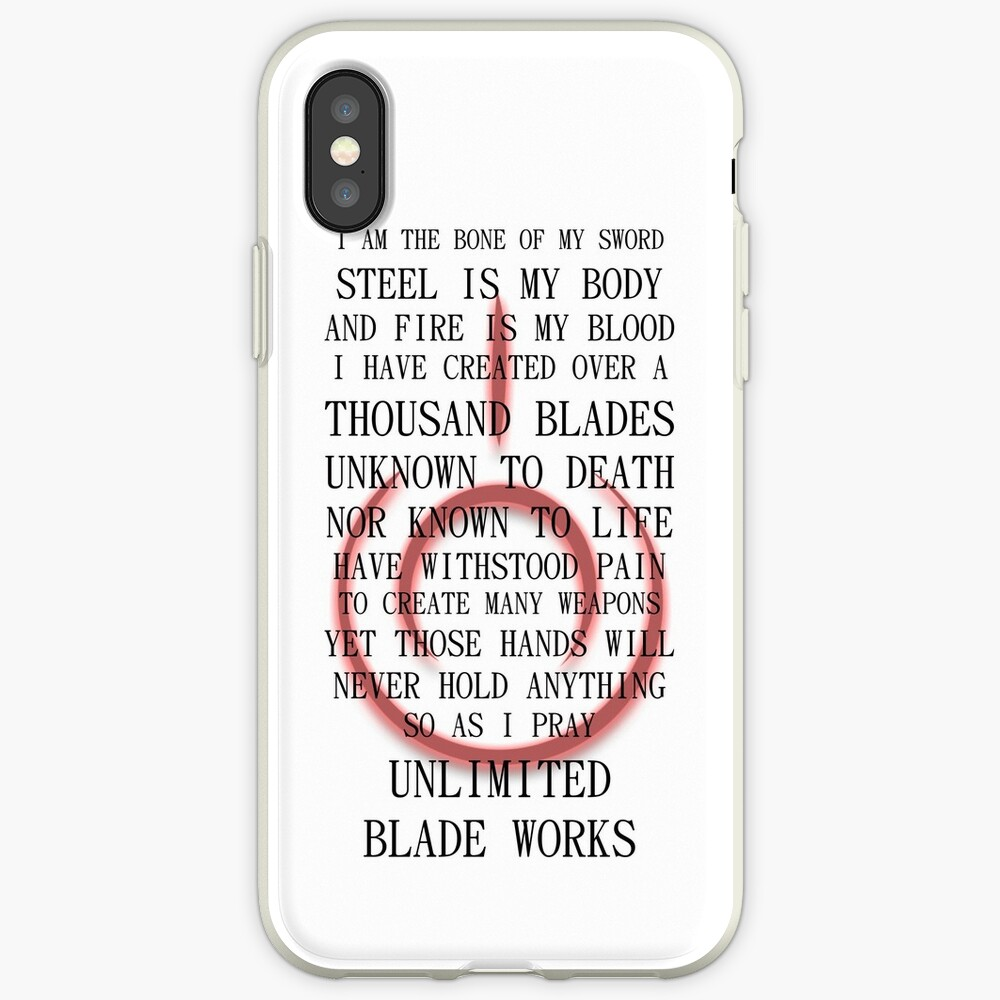 Fate Stay Night Unlimited Blade Works Archer And Shirou Quote With Command Seal iPhone Cases & Covers