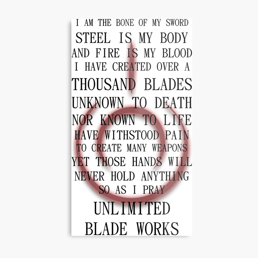 Fate Stay Night Unlimited Blade Works Archer And Shirou Quote With Command Seal Metal Print