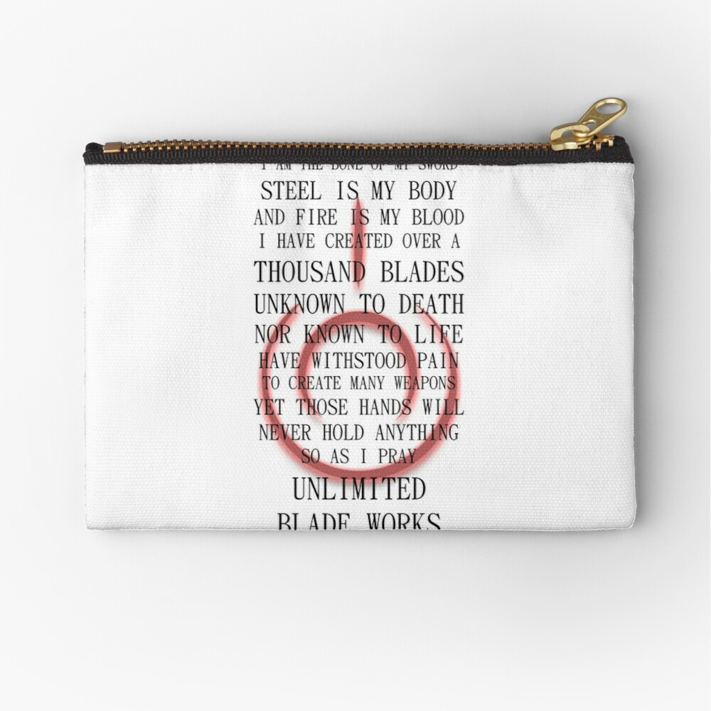 Fate Stay Night Unlimited Blade Works Archer And Shirou Quote With Command Seal Zipper Pouch