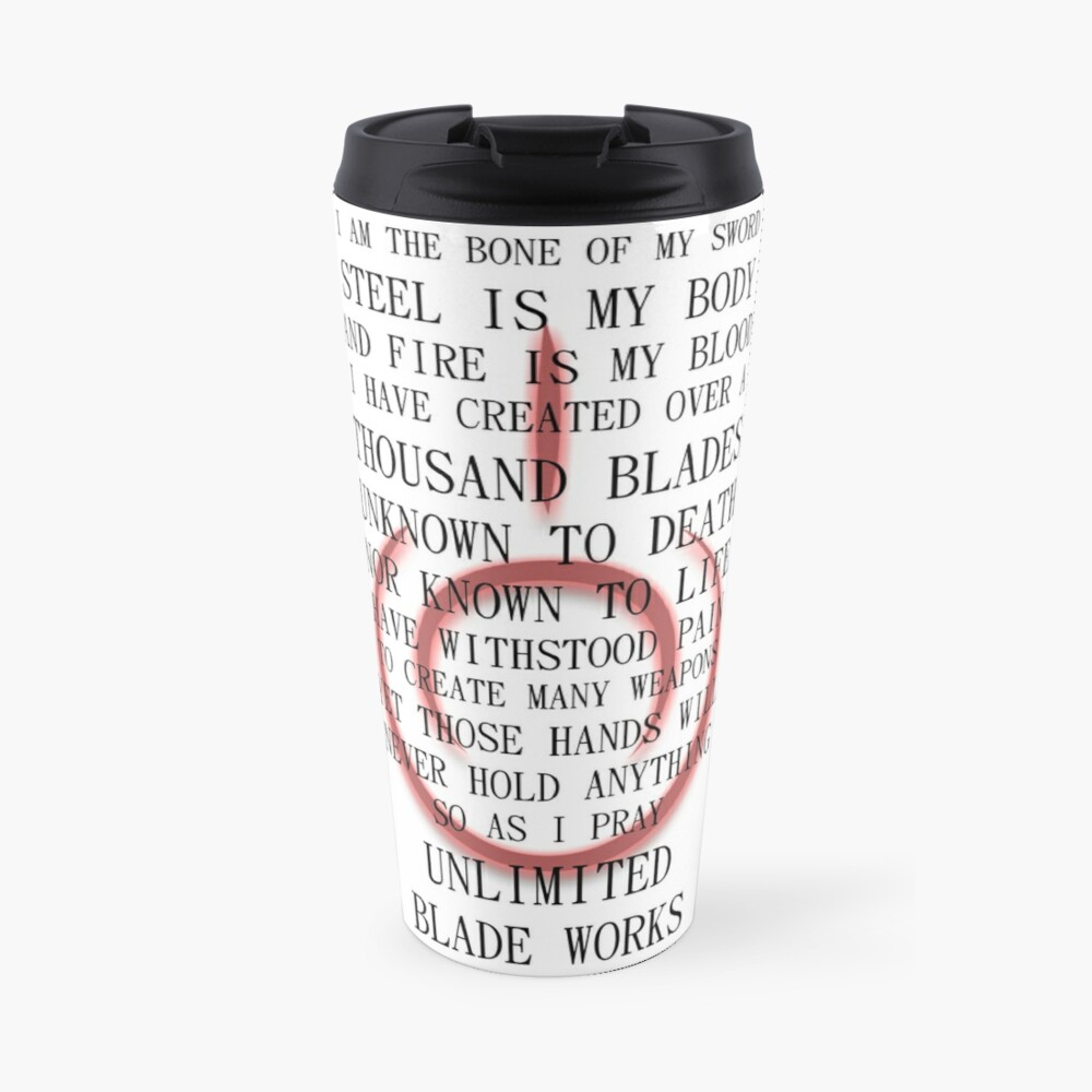 Fate Stay Night Unlimited Blade Works Archer And Shirou Quote With Command Seal Travel Mug