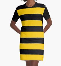 Bees - Yellow & Black Stripes Graphic T-Shirt Dress