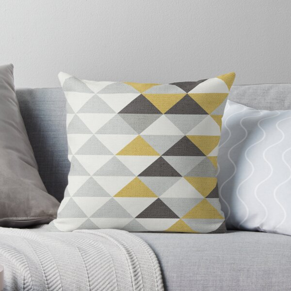 Triangle Navy Gray Cream and Yellow Pattern with Texture Throw Pillow