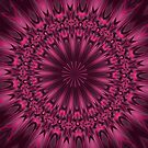 Fuchsia Pink Satin Shadows Fractal Abstract Kaleidoscope Mandala k08 by Artist4God