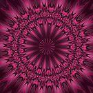 Fuchsia Pink Satin Shadows Fractal Abstract Kaleidoscope Mandala k08 by Artist4God