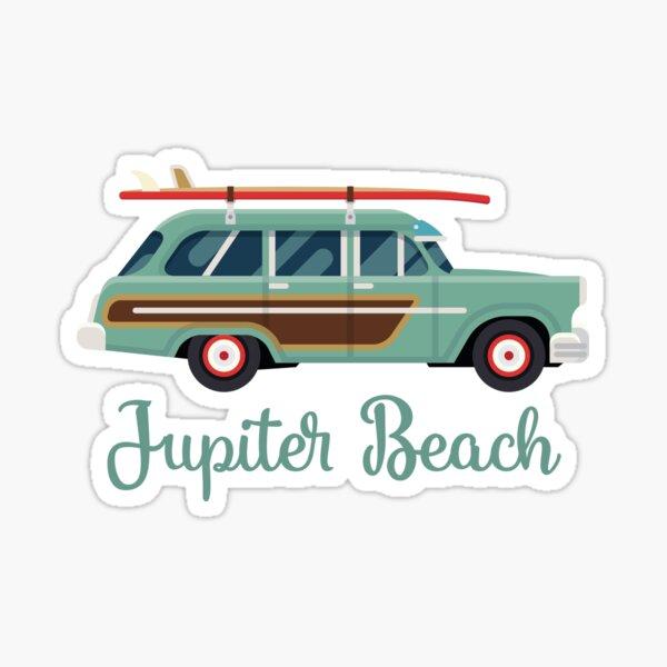 Jupiter Beach Florida Retro Surf Wagon Sticker