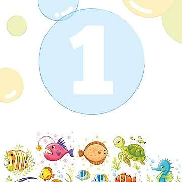 Underwater sea life birthday card for 1 year old by 0hmc