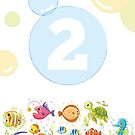 Underwater sea life birthday card for 2 year old by Tee Brain Creative