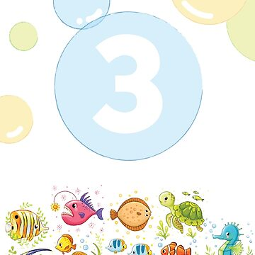 Underwater sea life birthday card for 3 year old by 0hmc