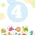 Underwater sea life birthday card for 4 year old by Tee Brain Creative