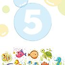 Underwater sea life birthday card for 5 year old by Tee Brain Creative