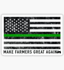 Make Our Farmers Great Again - Make Farmers Great Again - Thin Green Line US Patriotic Flag Sticker