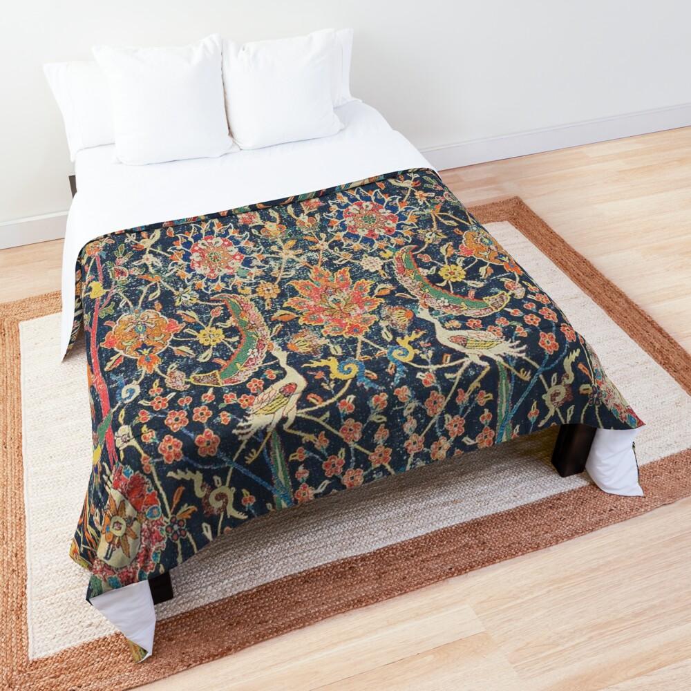 Kirman Vase Carpet Fragment Print Comforter