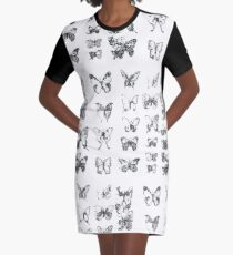 Butterflies in black and white pattern Graphic T-Shirt Dress