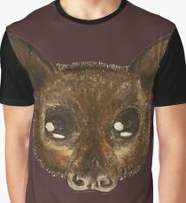 Red Flying Fox Bat Drawing. Graphic T-Shirt