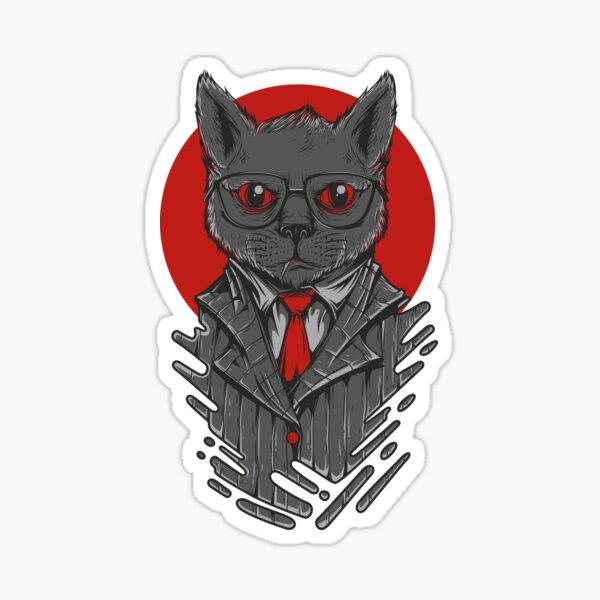 cat in suit Sticker