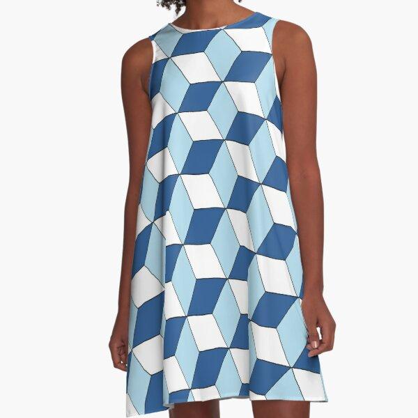 Cubes bleus Robe trapèze