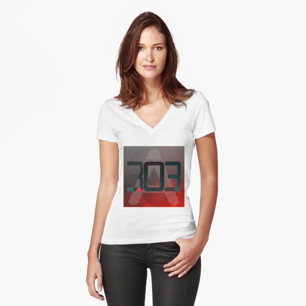 D-White Noise - A 303 Fitted V-Neck T-Shirt