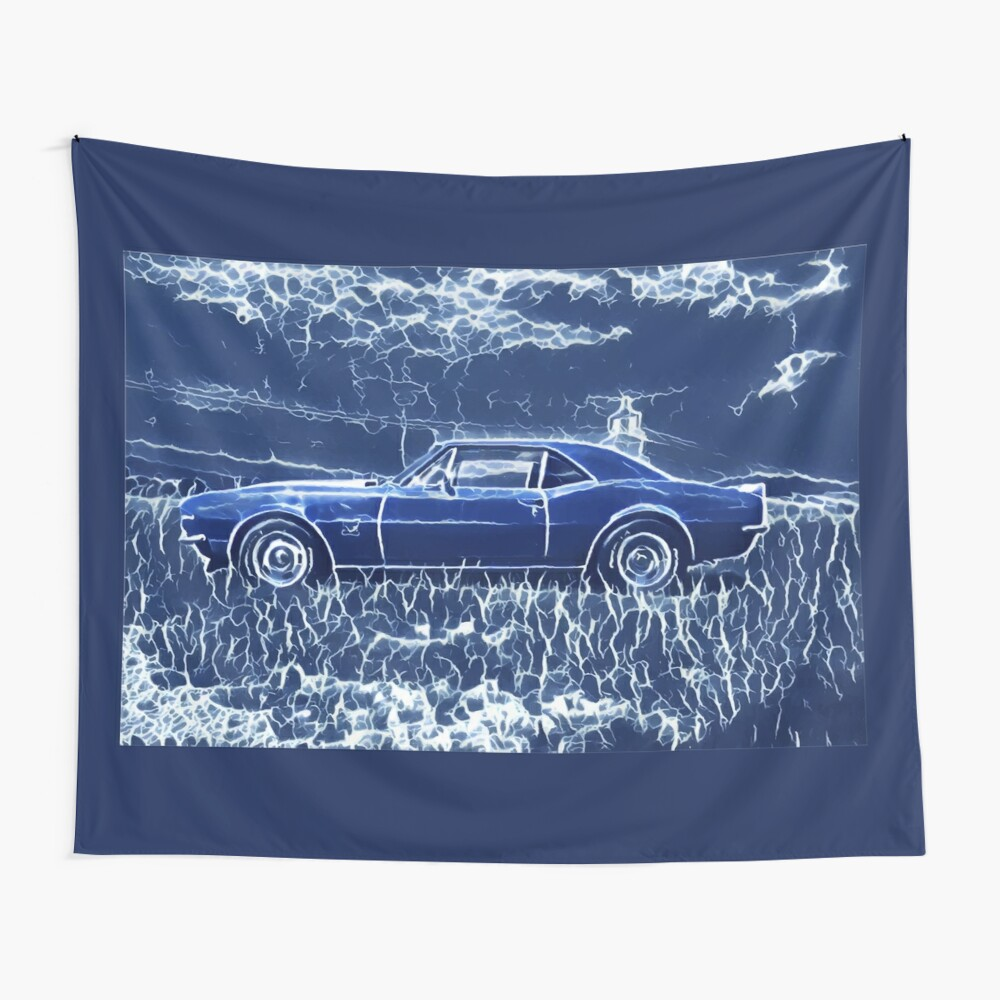 1967 Chevrolet Camaro SS Blue Electric  Wall Tapestry