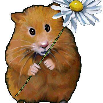Cute Hamster with Daisy Flower, Original Art by Joyce