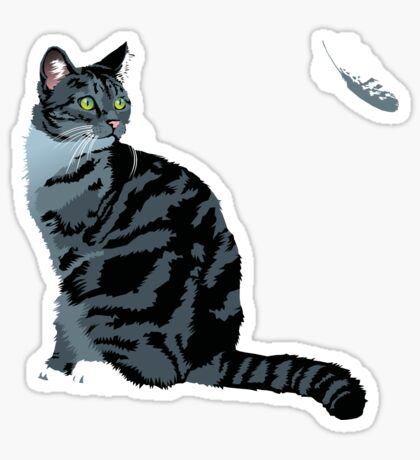 The Cat and The Feather Sticker