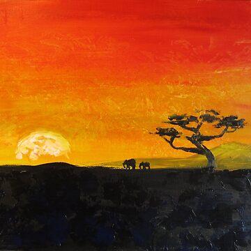 Elephants at Sunrise by ellemrcs