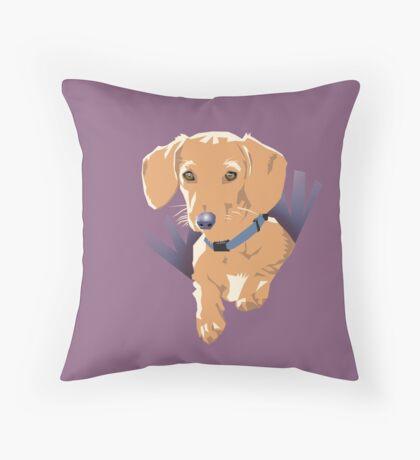 Pocket Puppy Purple Throw Pillow