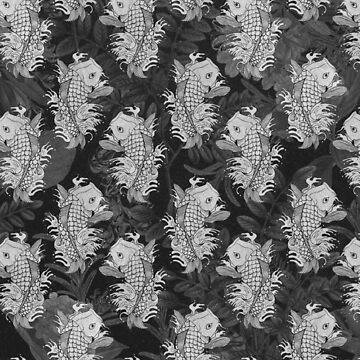 black and white fish pattern by MUMtees