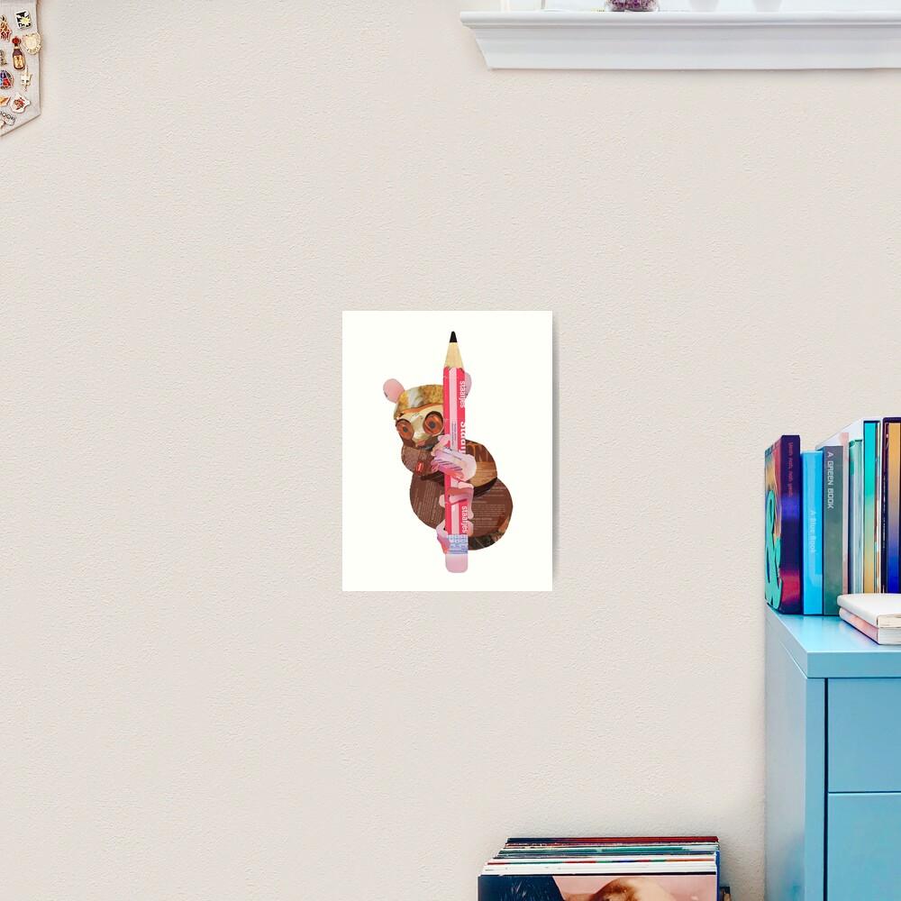 Tarsier clinging to a pencil Art Print