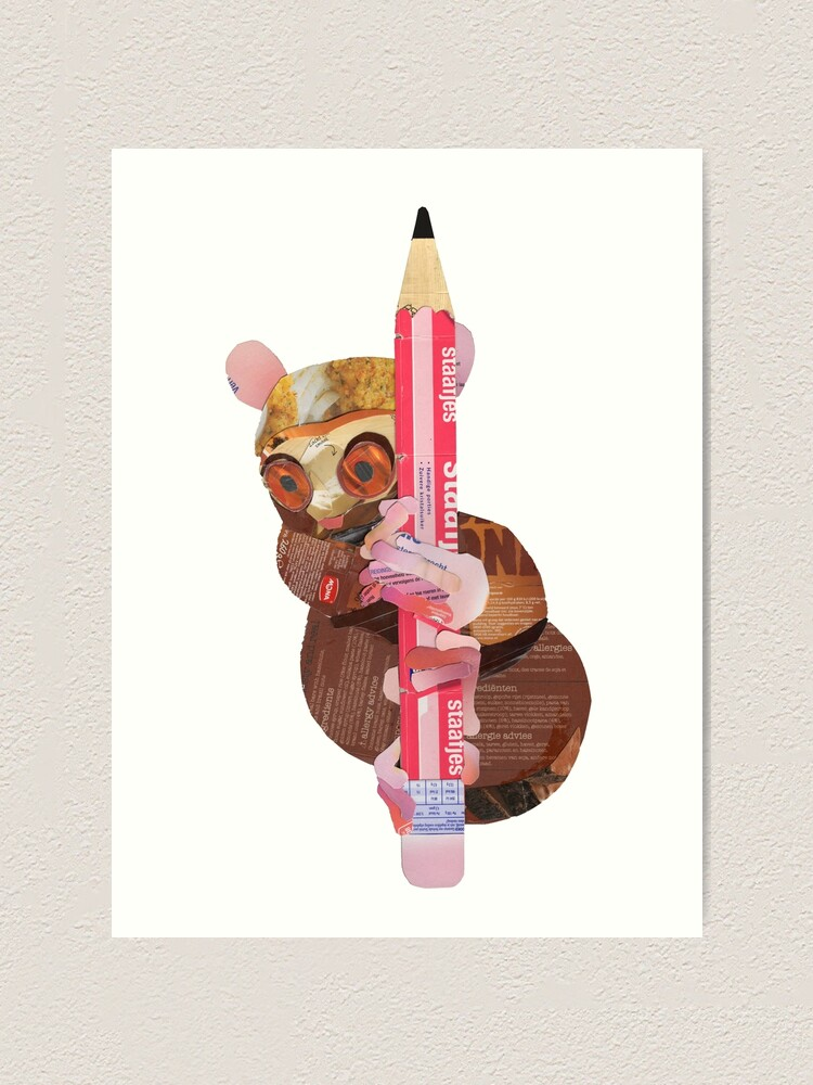 Alternate view of Tarsier clinging to a pencil Art Print