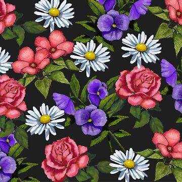 A Riot of Flowers: Daisies, Pink Roses, Pansies, Floral Art by Joyce
