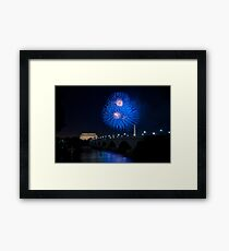 Fireworks over the Lincoln Memorial, Blue Framed Print