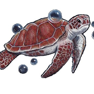 Turtle, Tortoise, Swimming with Bubbles, Illustration by Joyce